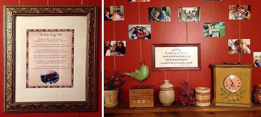 Framed Poem and Shelf